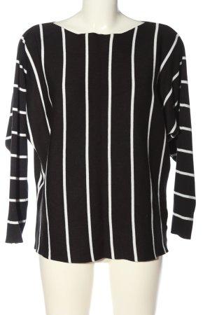Cherry Koko Crewneck Sweater black-white striped pattern casual look