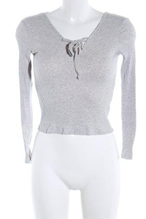 Sweatshirt lichtgrijs gestippeld casual uitstraling