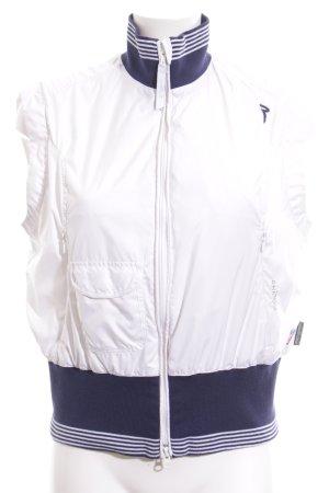 Chervo Gilet de sport blanc-bleu motif rayé style athlétique
