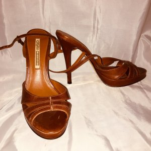 Buffalo London Strapped pumps cognac-coloured leather