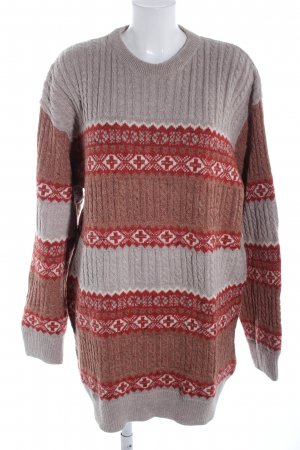 Oversized Sweater brown-light grey graphic pattern casual look