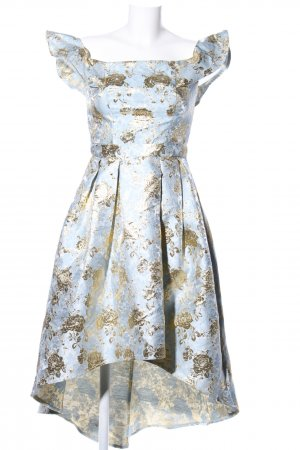 Chi Chi London Balloon Dress blue-gold-colored allover print elegant