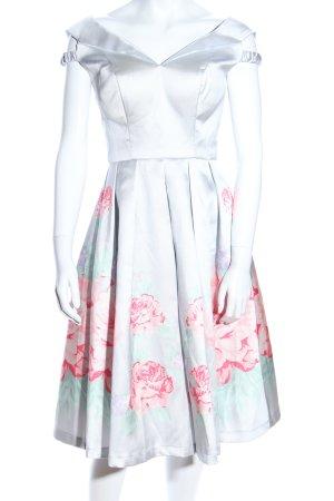 Chi Chi London Cocktailkleid silberfarben-pink Blumenmuster Elegant