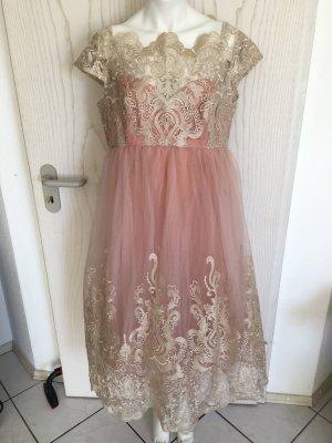 Chi Chi London Kleid komplett Spitze Rosa Gold 44 46 UK 16