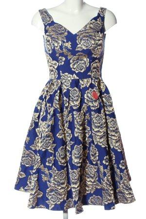 Chi Chi London Midikleid blau-creme Blumenmuster Elegant