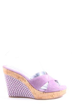 Chiara Pasquini Wedges Sandaletten lila-weiß Punktemuster Casual-Look