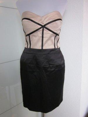 Chic & Hot: Bandeau Kleid in Beige & Schwarz NEU