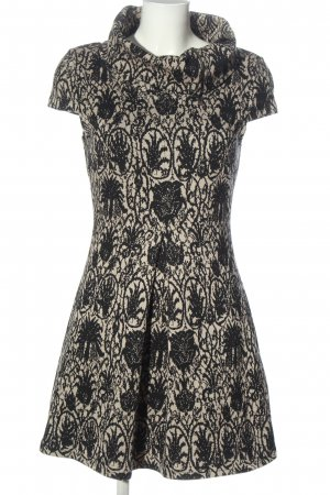 Chic & Mit Knitted Dress cream-black allover print casual look