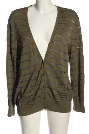 Chicc Cardigan khaki striped pattern casual look