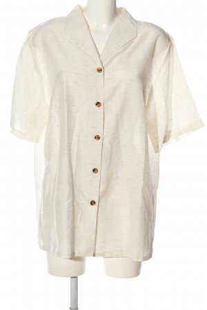 Chicc Shirt met korte mouwen wolwit gestippeld casual uitstraling
