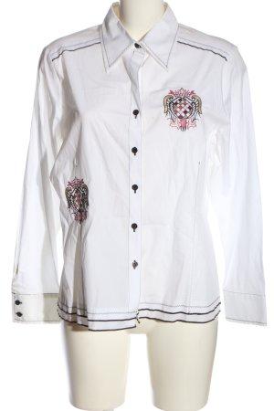 Chicc Shirt met korte mouwen wit prints met een thema casual uitstraling