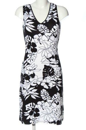 Chicc Midi Dress white-black flower pattern casual look