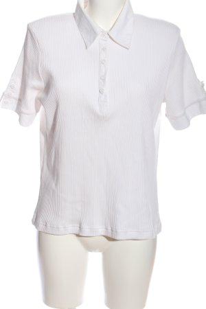 Chicc Koszulka polo biały Wzór w paski W stylu casual