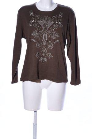 Chicc Kraagloze sweater bruin-wit Patroon-mengeling casual uitstraling