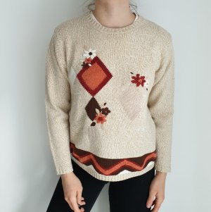CHICC S beige nude braun Oversize Pullover Hoodie Pulli Sweater Top Oberteil True Vintage Muster