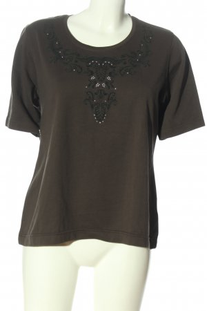 Chicc Boatneck Shirt khaki themed print casual look