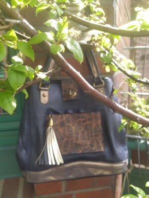 Chice dunkelblaue bronzene Handtasche