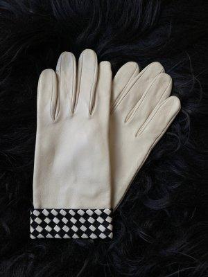 Leren handschoenen wit-zwart