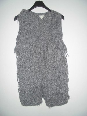 H&M Divided Fringed Vest grey-white cotton