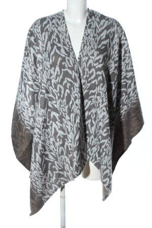Chico's Poncho in maglia grigio chiaro-bianco stampa integrale stile casual