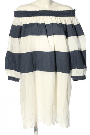 Chicwish Blouse Dress cream-blue striped pattern casual look