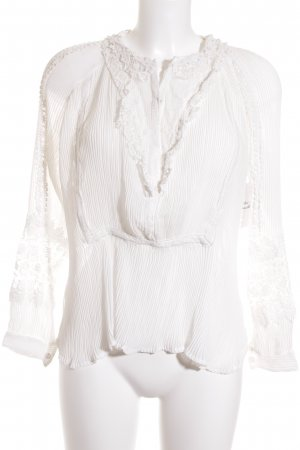 Chicwish Ruffled Blouse natural white Lace trimming