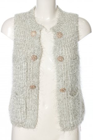 Chicwish Knitted Vest light grey cable stitch casual look
