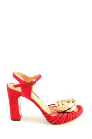 Chie Mihara Sandały na obcasie czerwony-w kolorze białej wełny Elegancki