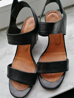 Chie Mihara Platform Sandals black leather