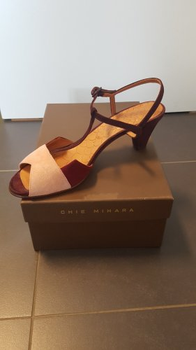 Chie Mihara Strapped Sandals bordeaux-pink leather