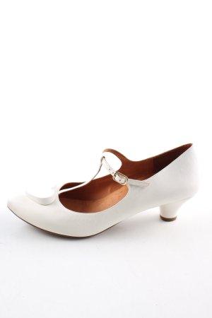 Chie Mihara Zapatos de tacón con barra en T blanco elegante