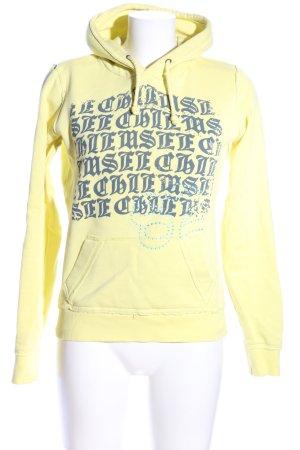 Chiemsee Kapuzenpullover blassgelb-blau Schriftzug gedruckt Casual-Look