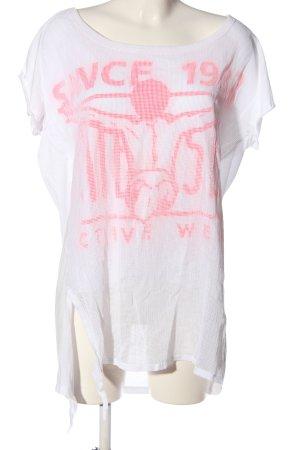 Chiemsee Koszulka z nadrukiem biały-różowy Nadruk z motywem W stylu casual