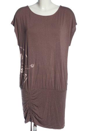 Chiemsee Shirttunika braun-wollweiß Motivdruck Casual-Look