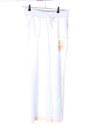 Chiemsee Pantalone fitness bianco-arancione chiaro Stampa a tema stile casual