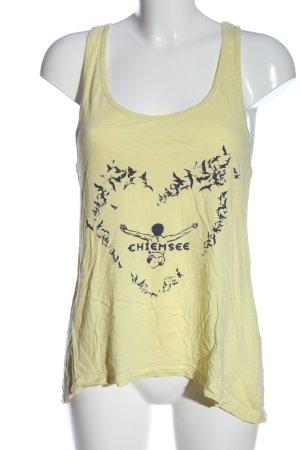 Chiemsee Top na ramiączkach bladożółty-czarny Nadruk z motywem