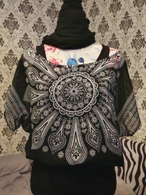 Koszula z odcięciem pod biustem biały-czarny