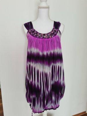 Chiffon Ballon Kleid  Sommerkleid in lila flieder violett weiß mit Steinchen Gr. S