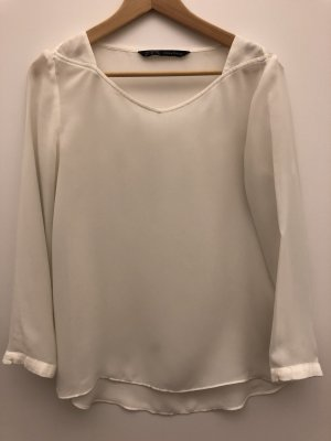 Chiffon Bluse in weiß von ZARA