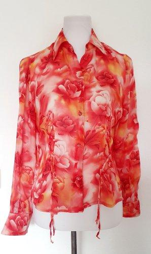 Chiffon Bluse mit Blumen Design Gr 38