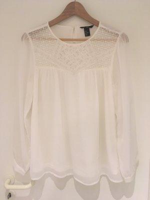 Chiffon-Bluse mit Spitze von H&M in Größe 40