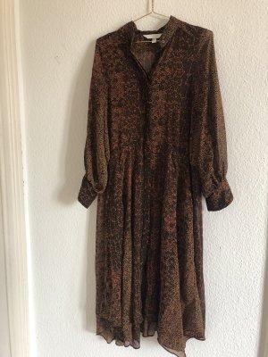 H&M Szyfonowa sukienka czarny-brąz