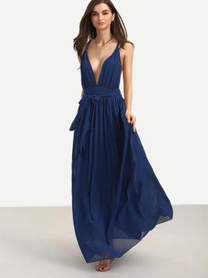 Chiffon Kleid, dunkelblau, langes Kleid, Ball-/ Strand-Kleid, mit Bindegürtel, traumhaftes Dekolleté, 34/ XS, neu