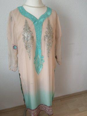 Chiffon Dress cream-light blue