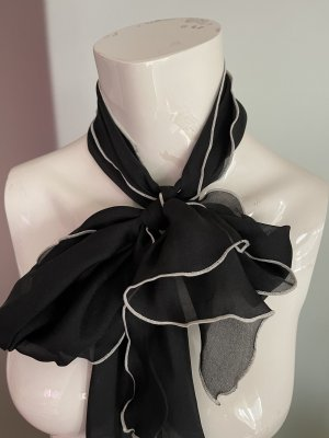 Chiffon Schal Schleife schwarz -weiß