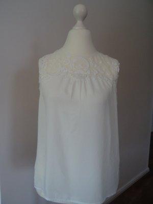 Orsay Koronkowy top biały-w kolorze białej wełny Poliester