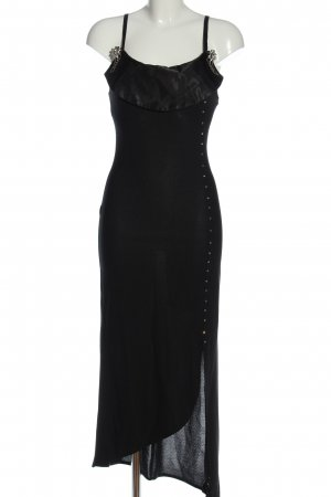 chiffon Pinafore dress black wet-look