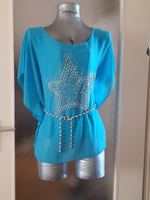 Made in Italy Blusa taglie forti argento-celeste