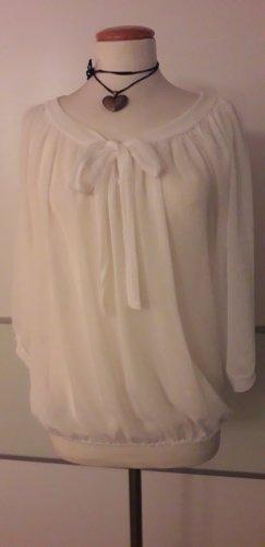 Italia Moda Tie-neck Blouse natural white