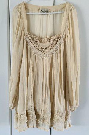 Vestido de chifón crema-blanco puro